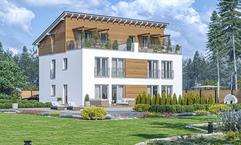 Bevorzugt Haas D 112 A: Doppelhaus mit Dachterrasse ▷ Haas Fertighaus CR51